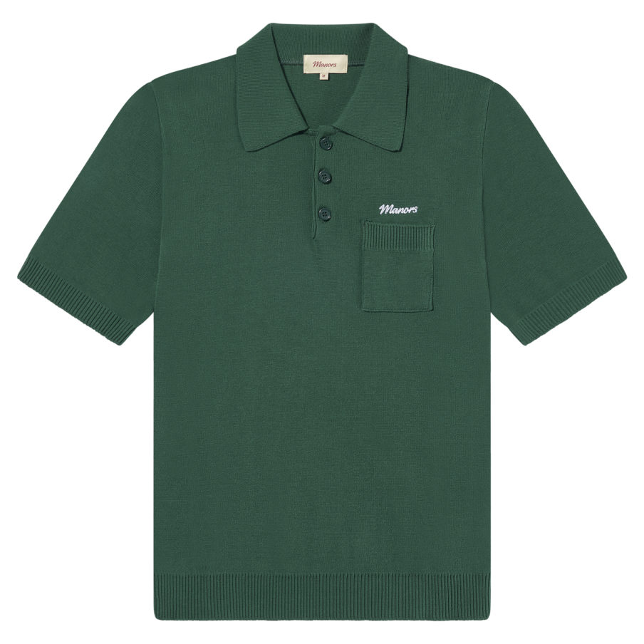 Manors Golf - Knitted Polo Green
